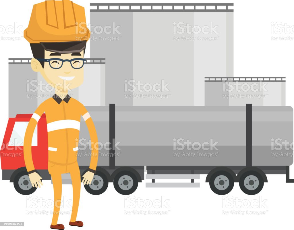 Worker on background of fuel truck and oil plant vector art illustration
