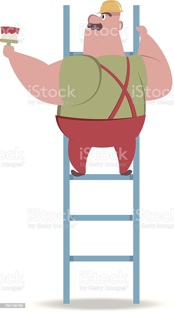 Worker on ladder painting white wall vector art illustration