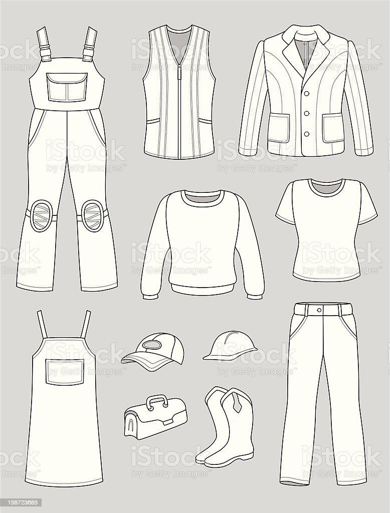 Worker, plumber man, woman fashion set royalty-free stock vector art