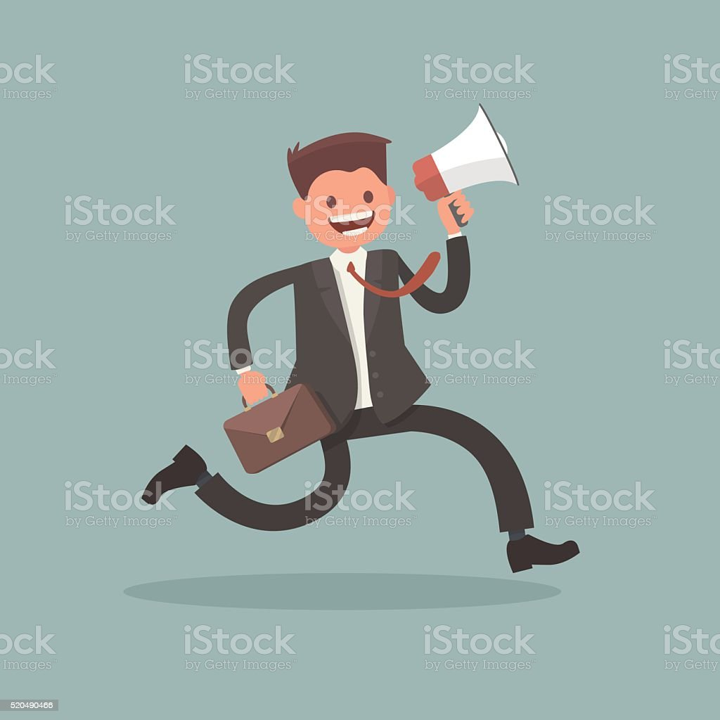 Worker runs and keeps  bullhorn. The character for an  message vector art illustration