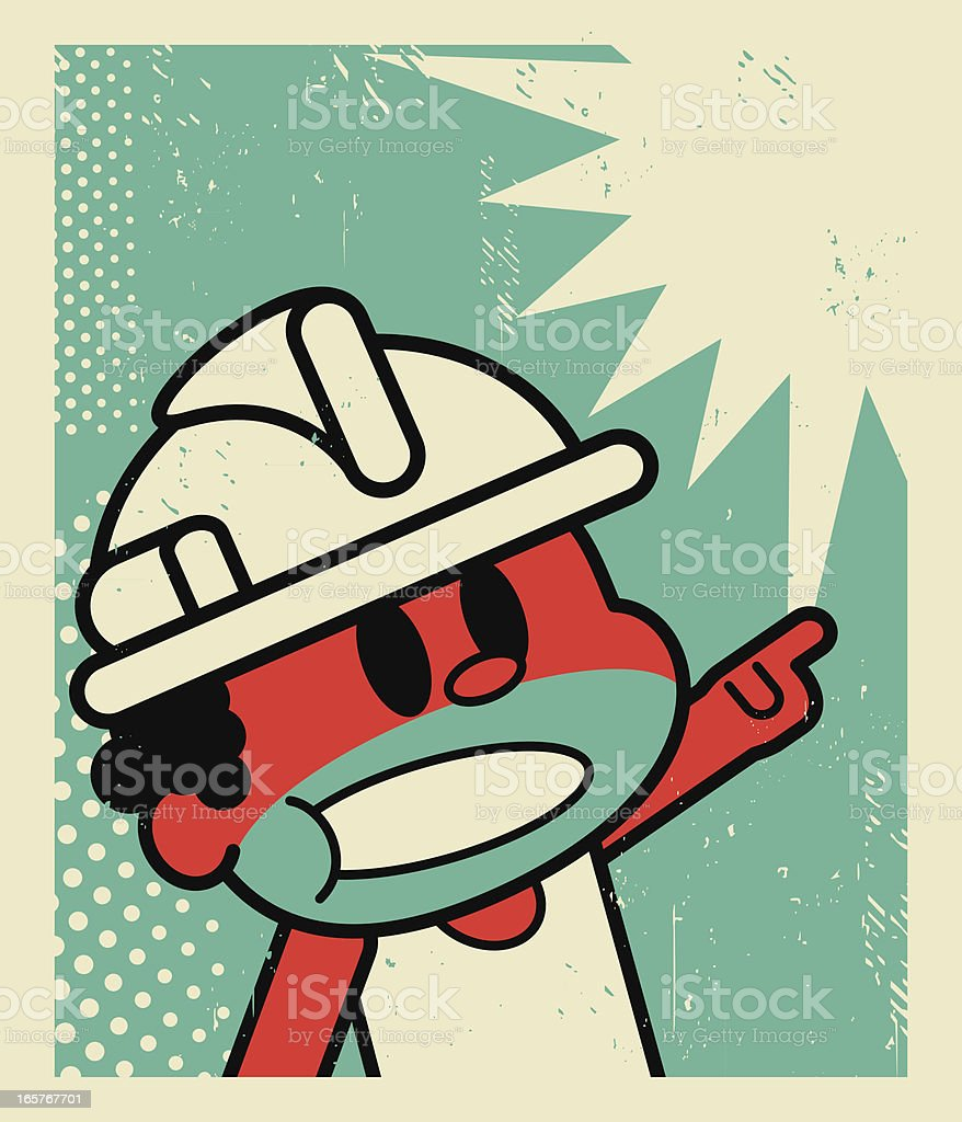 Worker Screaming and Pointing at Something royalty-free stock vector art