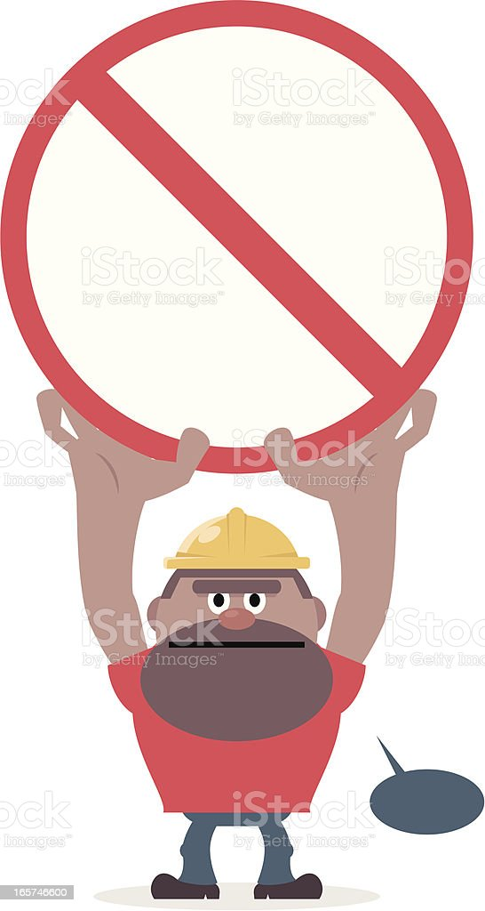 Worker showing a prohibition sign and warning for safety royalty-free stock vector art
