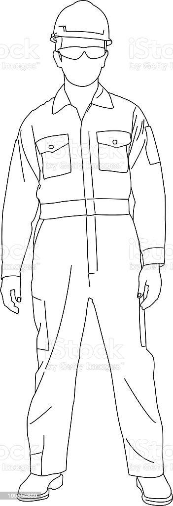 Worker Standing vector art illustration