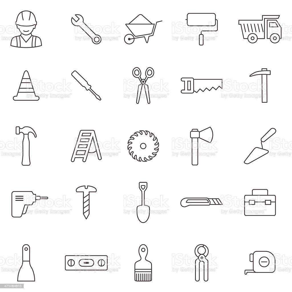Worker tool line icons set.Vector vector art illustration