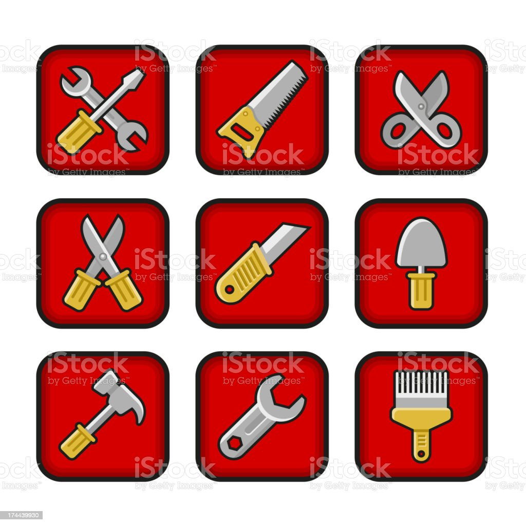 Worker tools icons royalty-free stock vector art