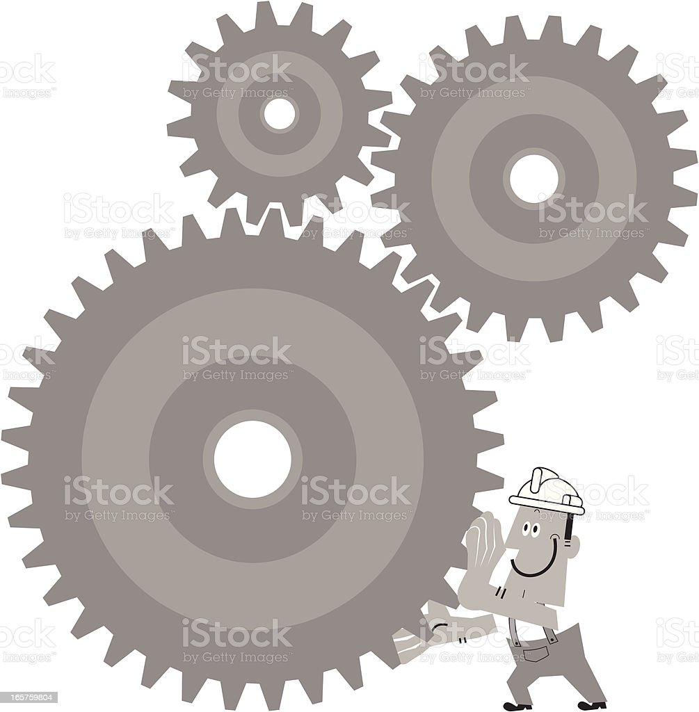 Worker Turn The Gears royalty-free stock vector art