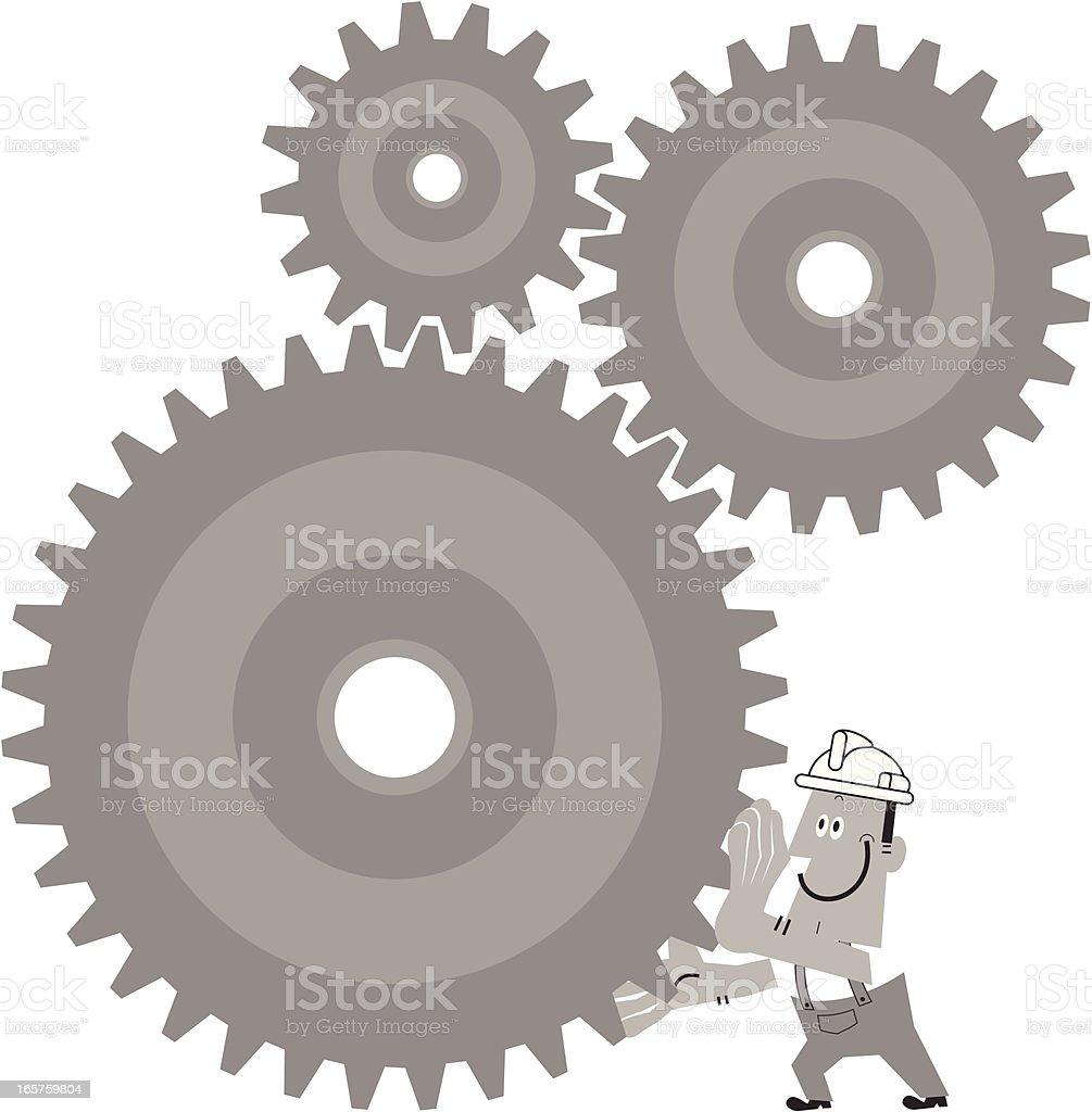 Worker Turn The Gears vector art illustration