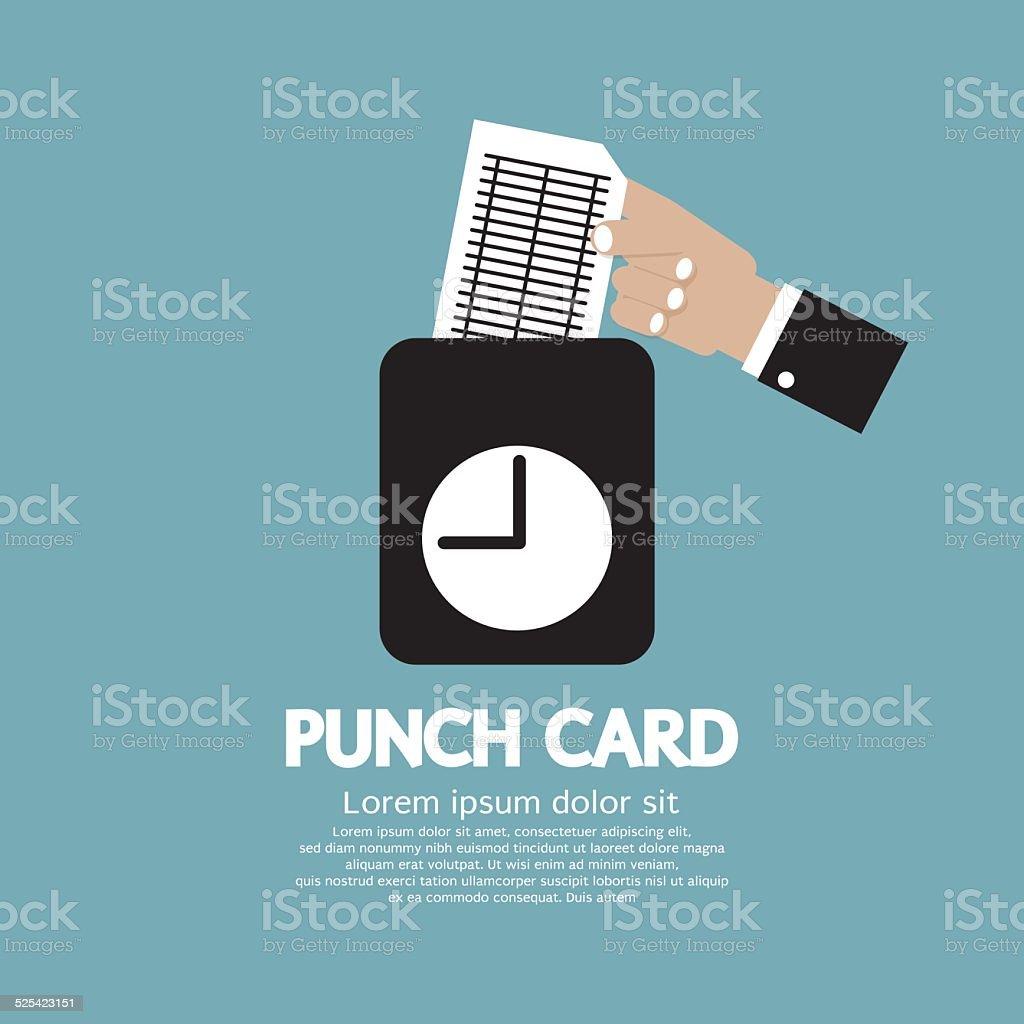 Worker Using Punch Card For Time Check Vector Illustration vector art illustration