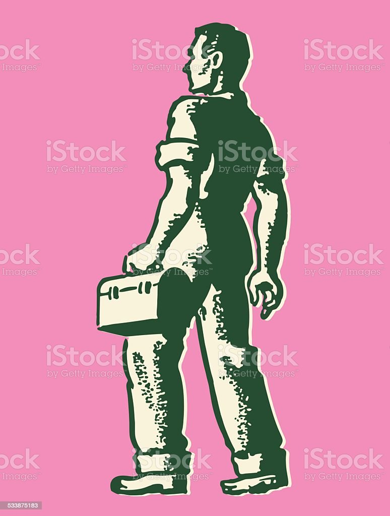 Worker with Lunch Box vector art illustration