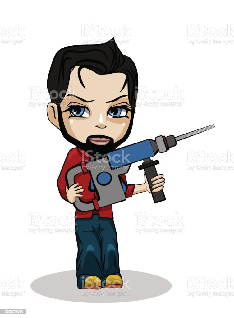 Worker with puncher vector art illustration