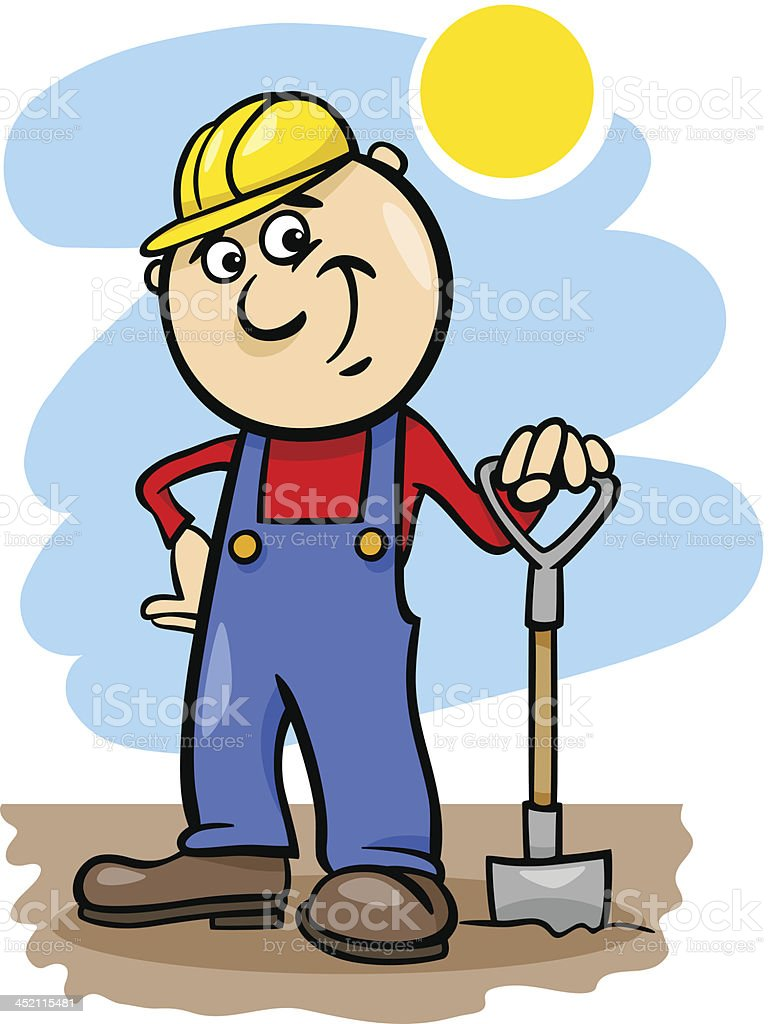 worker with spade cartoon illustration royalty-free stock vector art