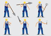 Worker With Tools Vector Cartoon Character Illustration