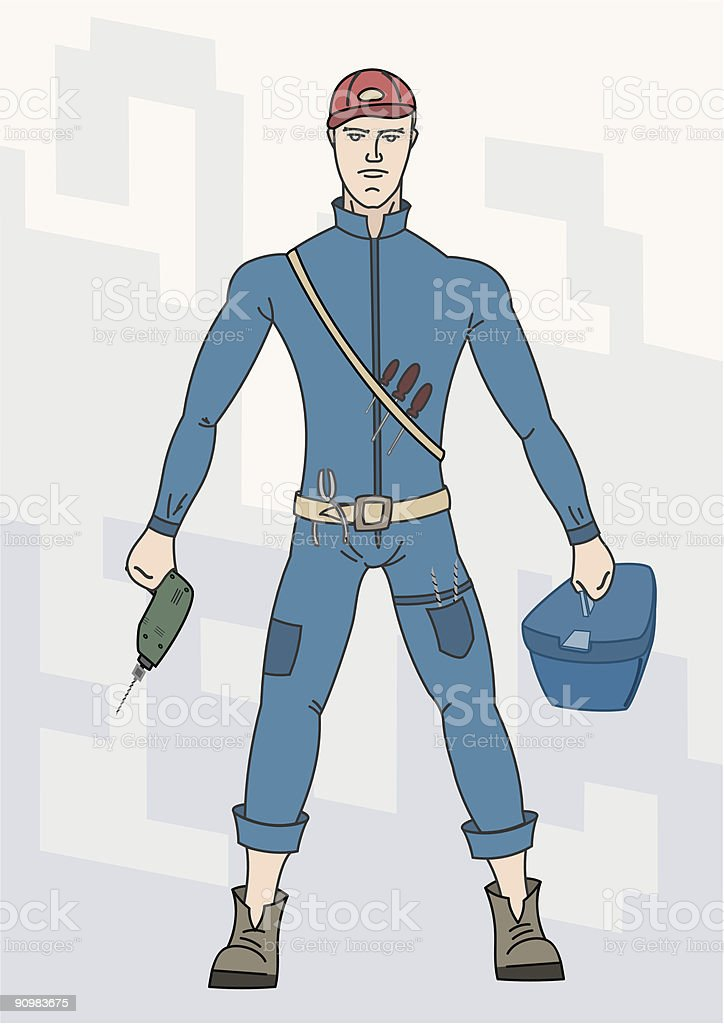 Worker with tools royalty-free stock vector art