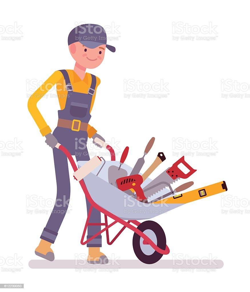 Worker with wheelbarrow vector art illustration