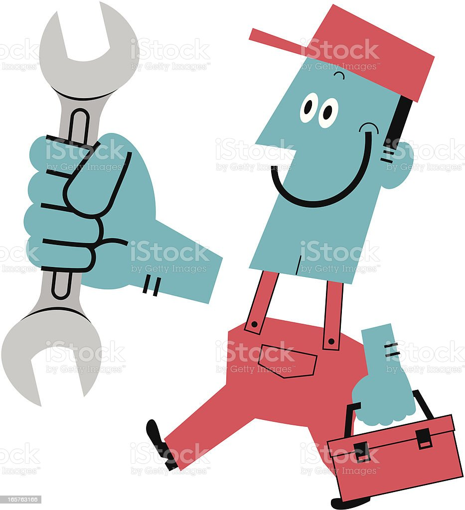 Worker with wrench and toolbox vector art illustration