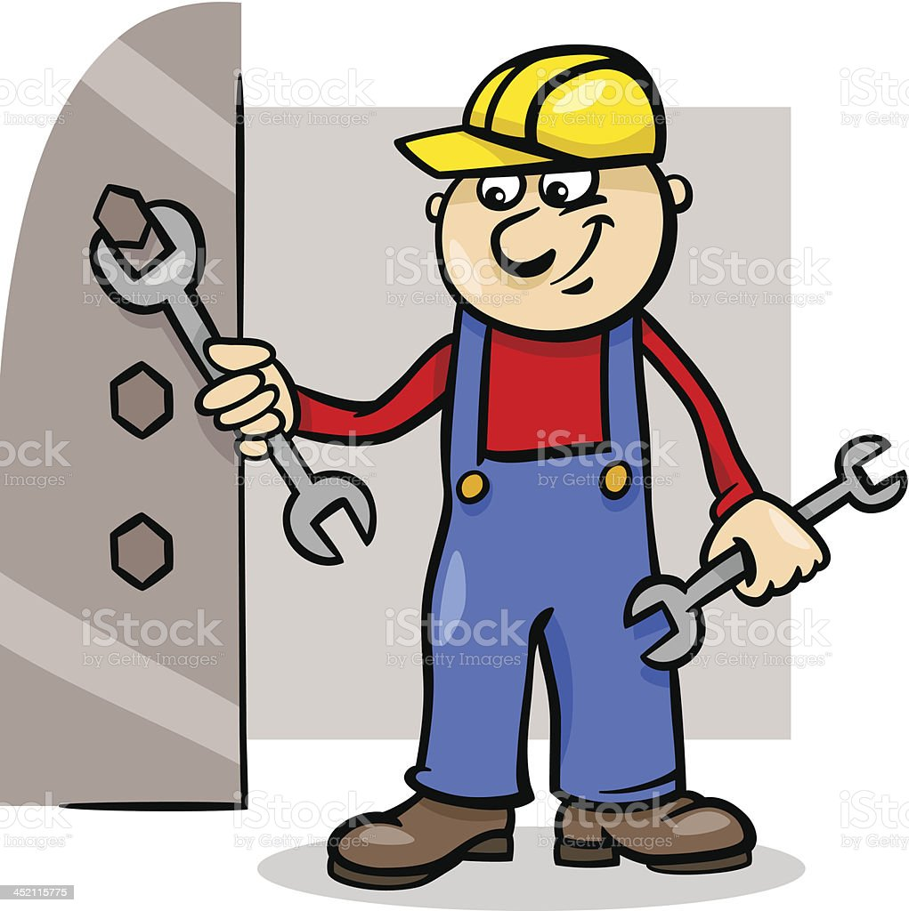worker with wrench cartoon illustration royalty-free stock vector art