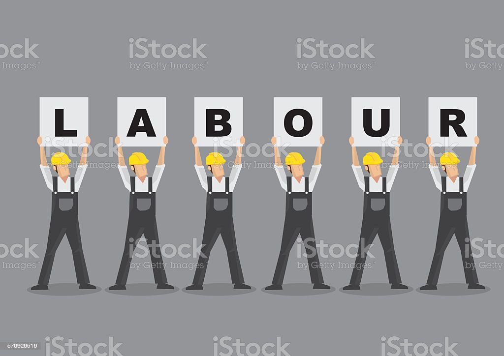 Workers Holding Up Labour Placards Vector Illustration vector art illustration