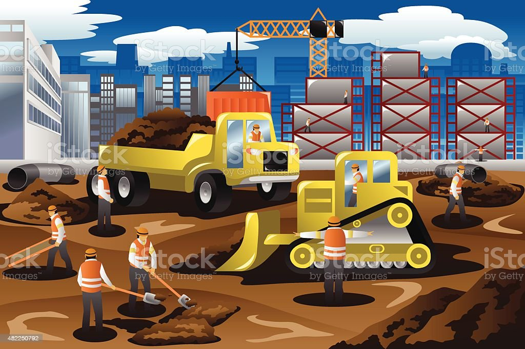 Workers in a Construction Site vector art illustration