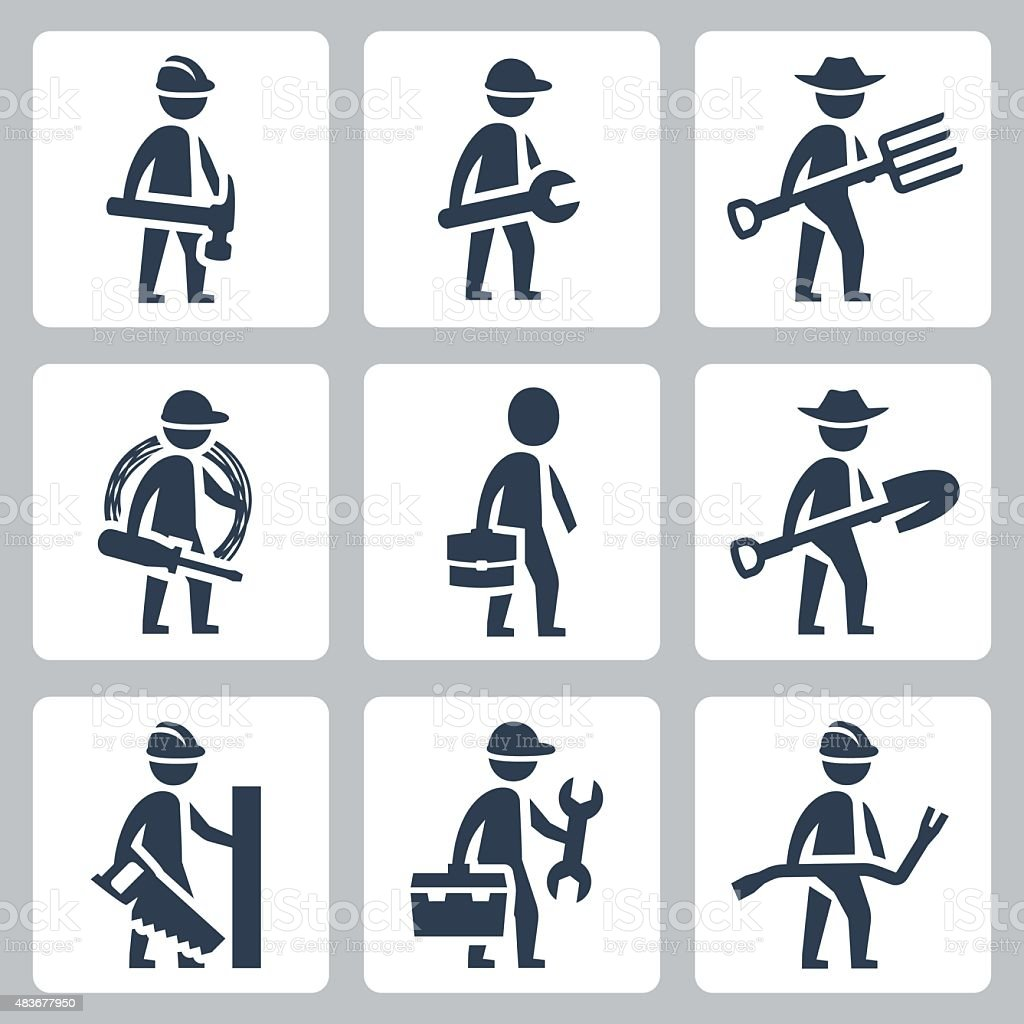 Workers vector icon set vector art illustration