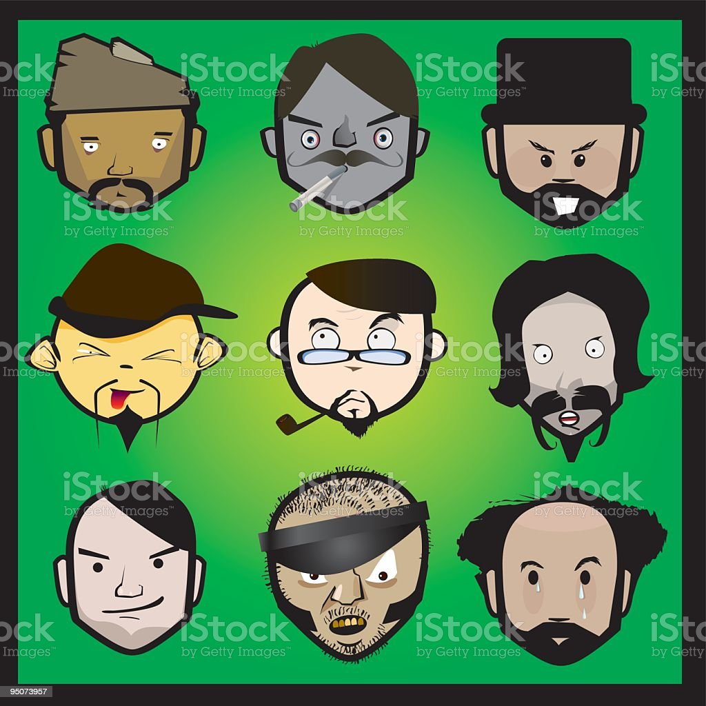 FACES Workers royalty-free stock vector art