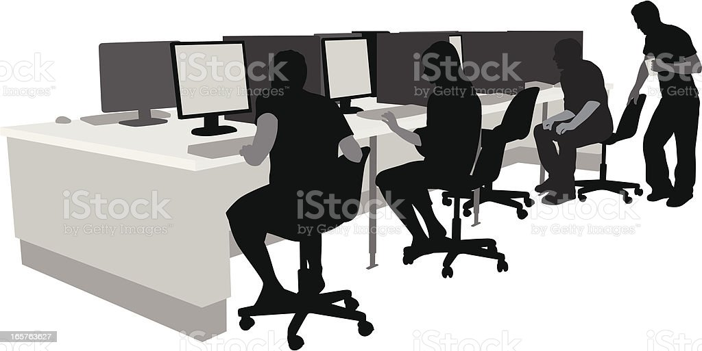 LCD workers Vector Silhouette royalty-free stock vector art