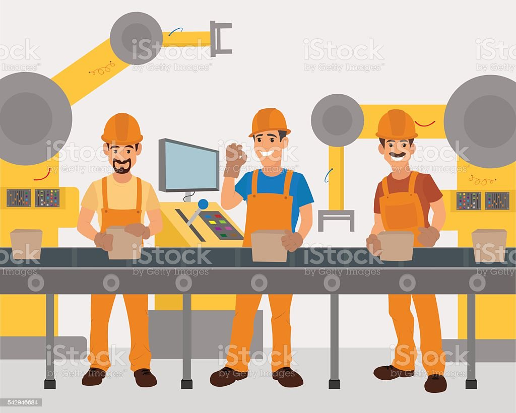 workers work on the conveyor. vector art illustration
