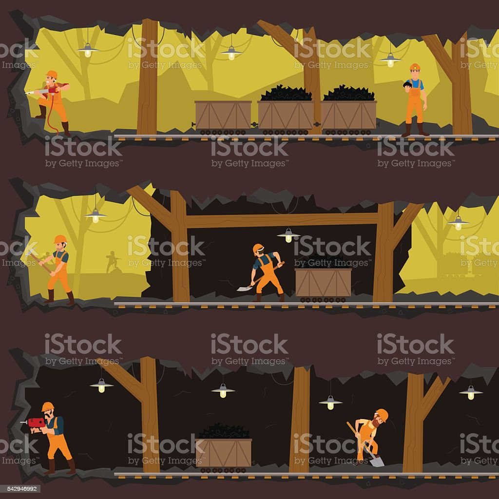 workers working in the mine at different levels. vector art illustration