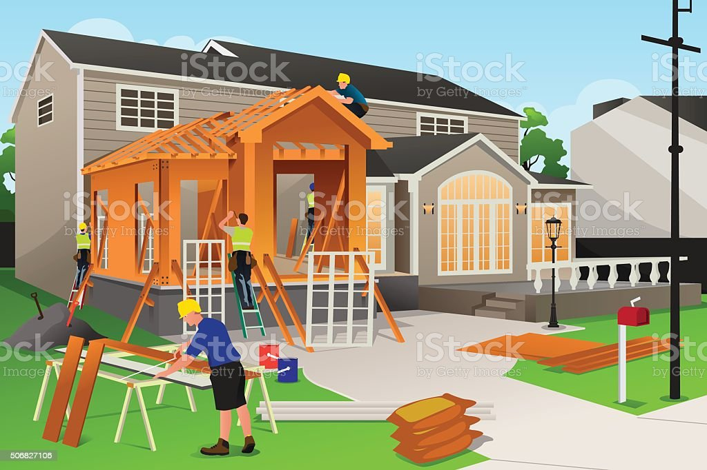 Workers Working on Home Renovation vector art illustration
