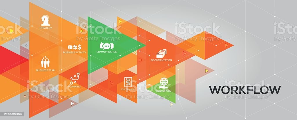 Workflow banner and icons vector art illustration