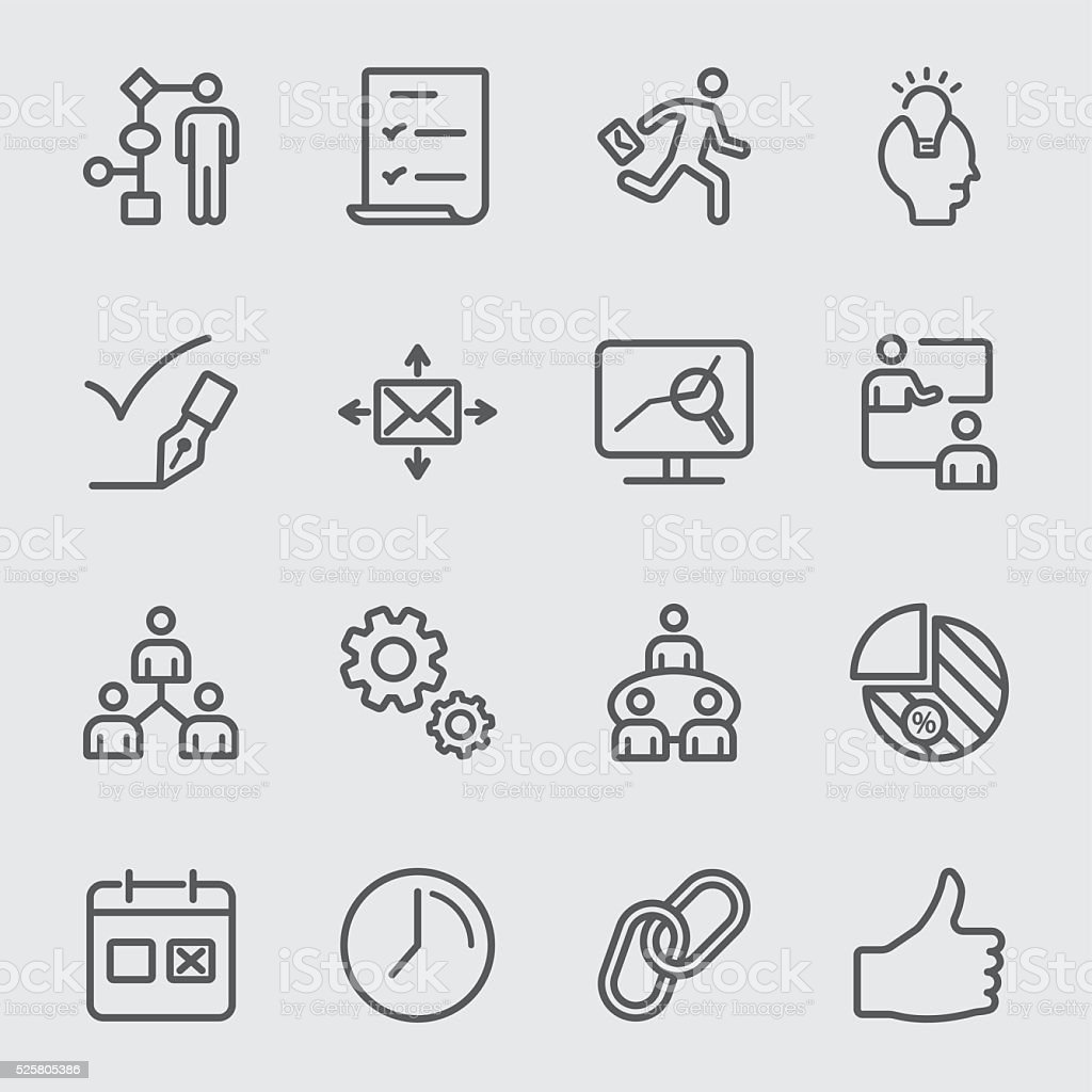 Workflow line icon vector art illustration