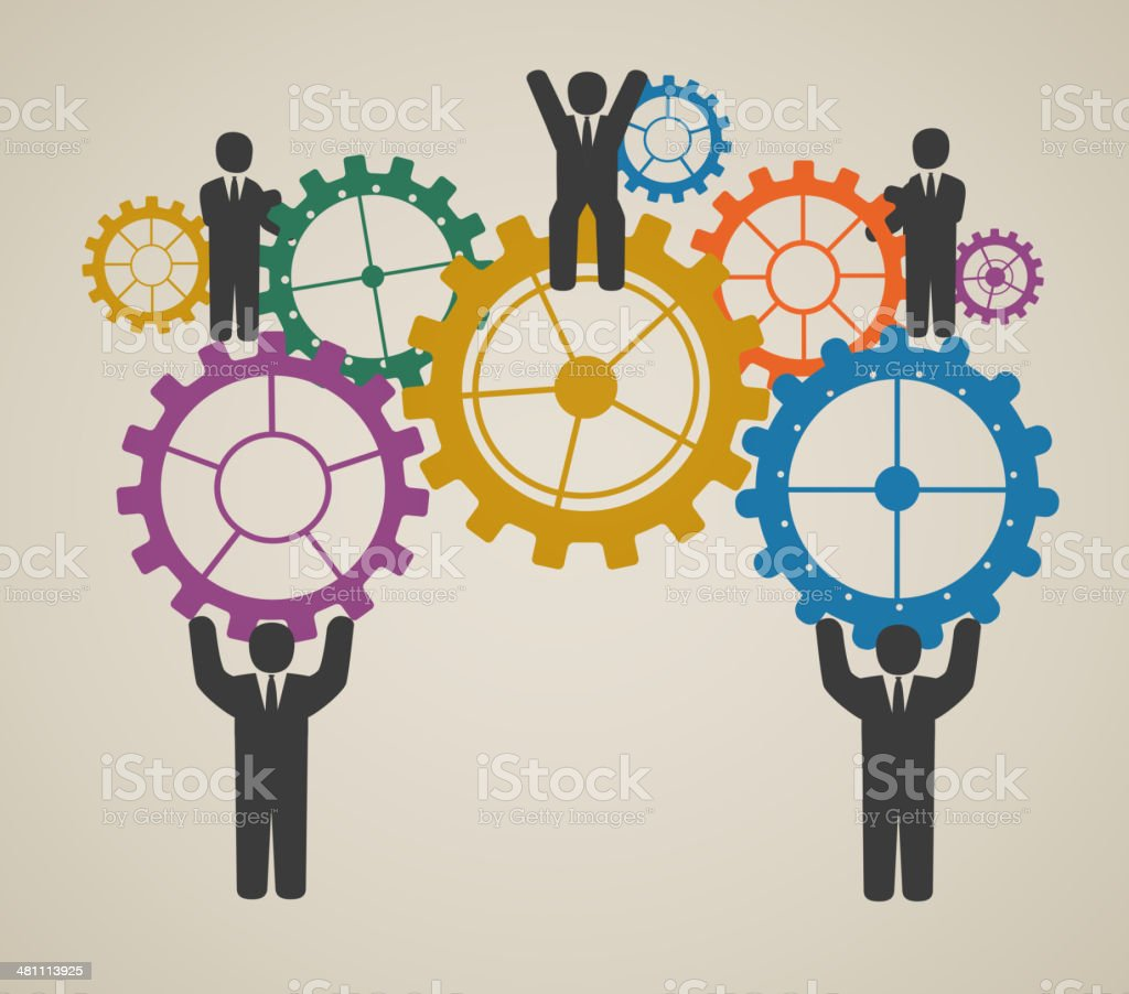 workforce, team working, business people in motion, motivation for success. vector art illustration