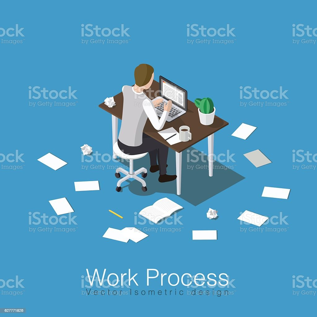 Working and studying concept vector art illustration