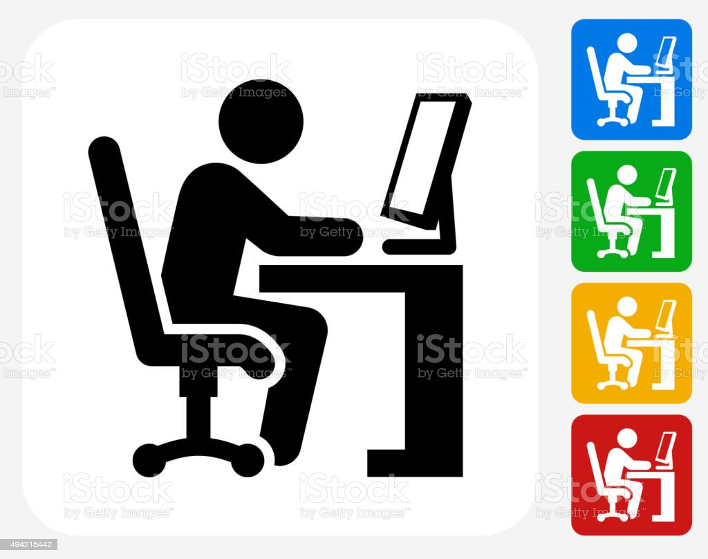 Working at Desk Icon Flat Graphic Design vector art illustration