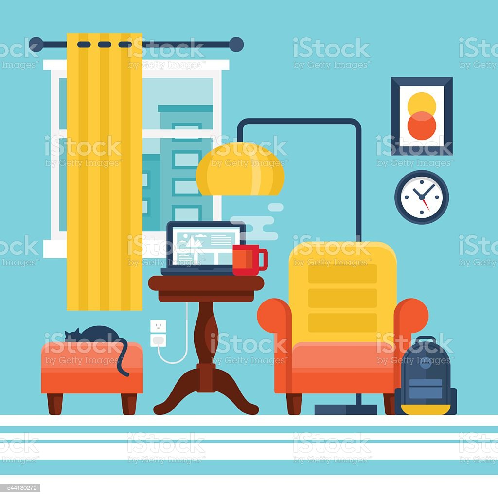 Working at home and freelance concept. Flat modern stylish room vector art illustration