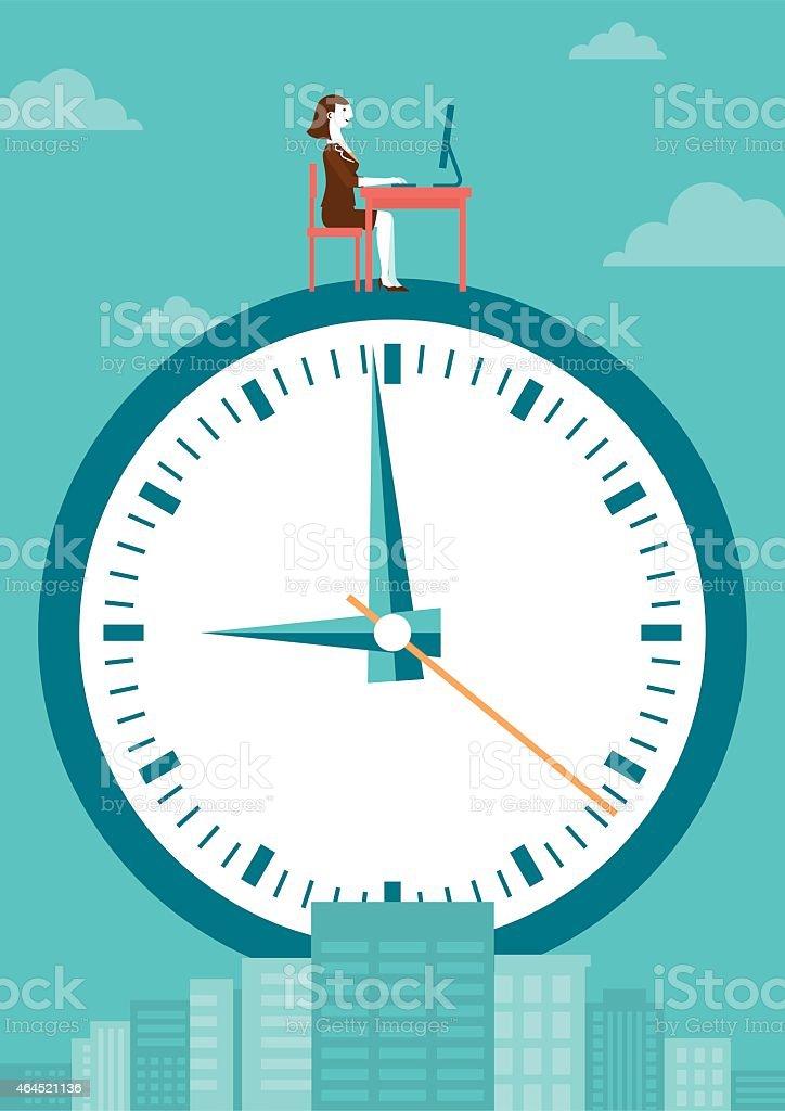 Working at Top of Clock Business Concept   New Biz vector art illustration