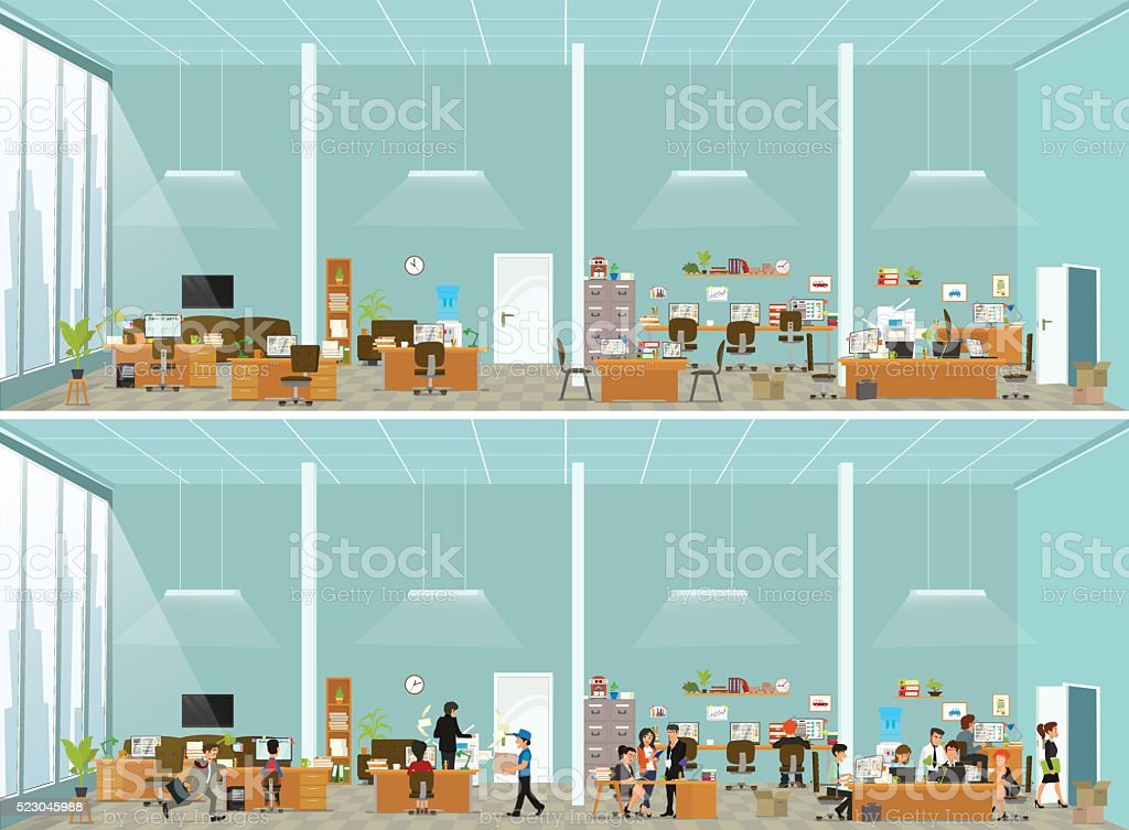 working atmosphere in the office. vector art illustration