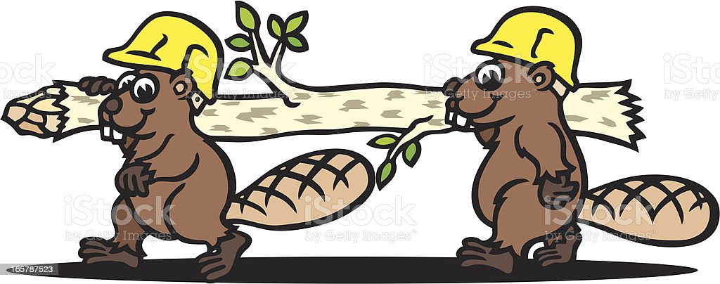 Working Beaver royalty-free stock vector art