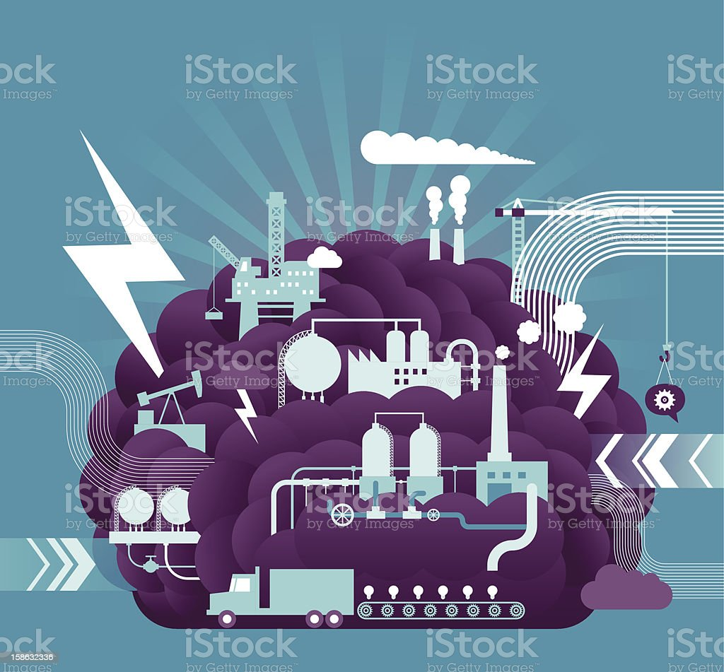 Working Brain vector art illustration