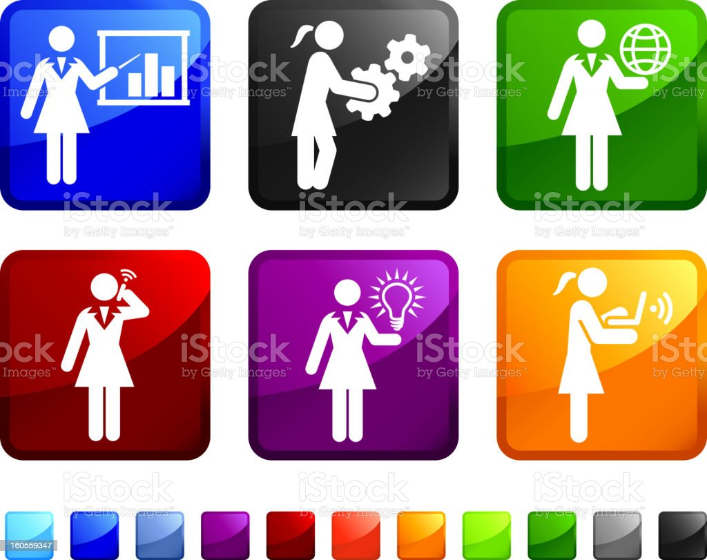 Working Businesswoman royalty free vector icon set stickers royalty-free stock vector art