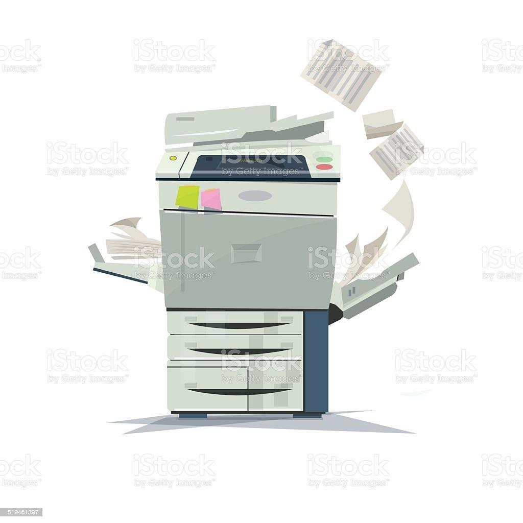 working copier printer - vector illustration vector art illustration