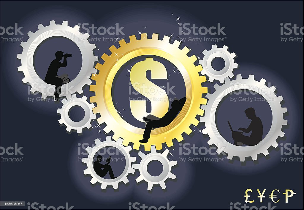 Working for the Dollar royalty-free stock vector art