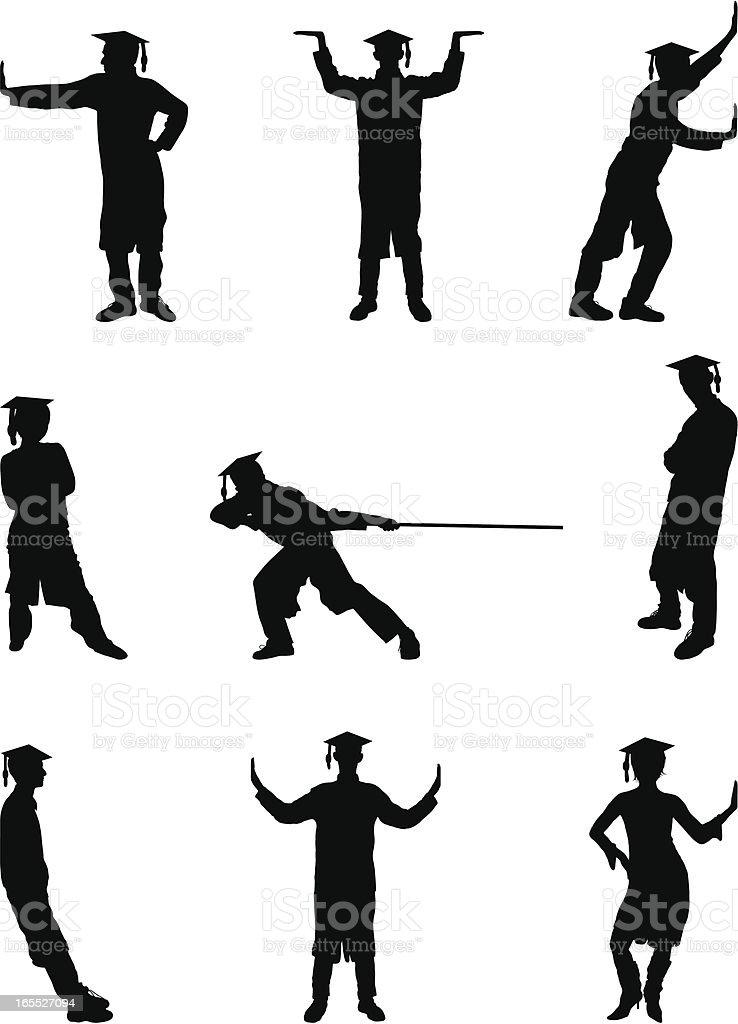 Working Graduates vector art illustration