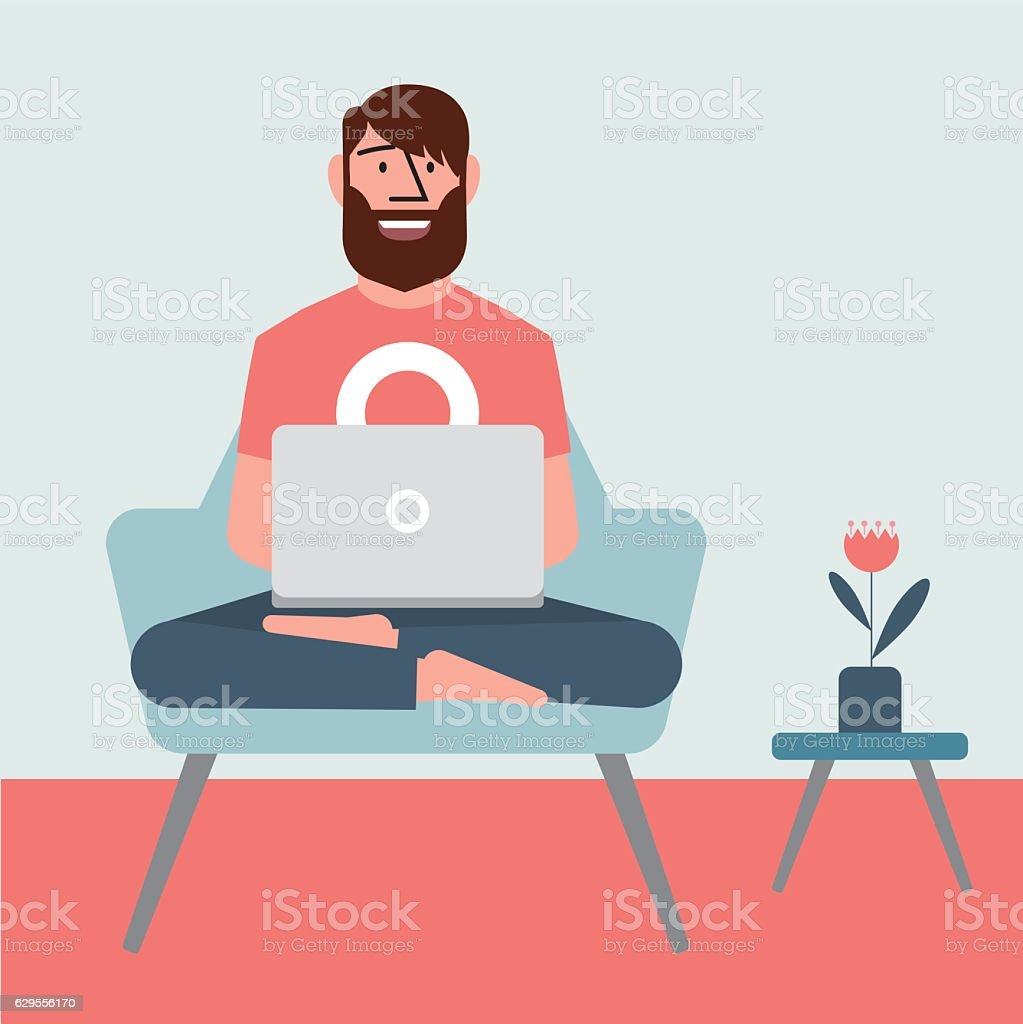 Working in a chair vector art illustration