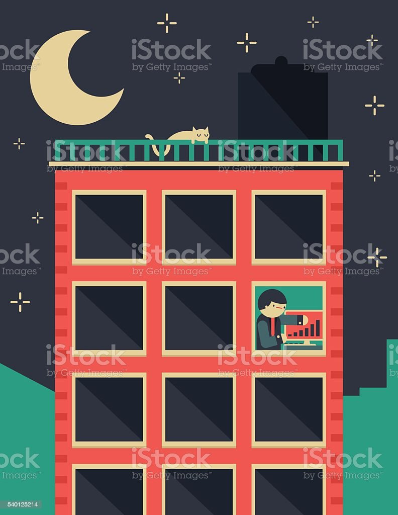 Working Late vector art illustration