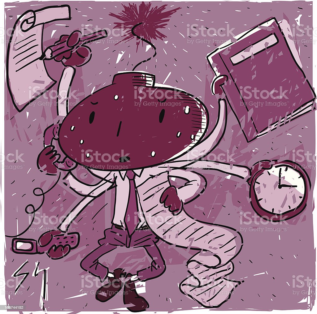 Working man busy to bomb royalty-free stock vector art