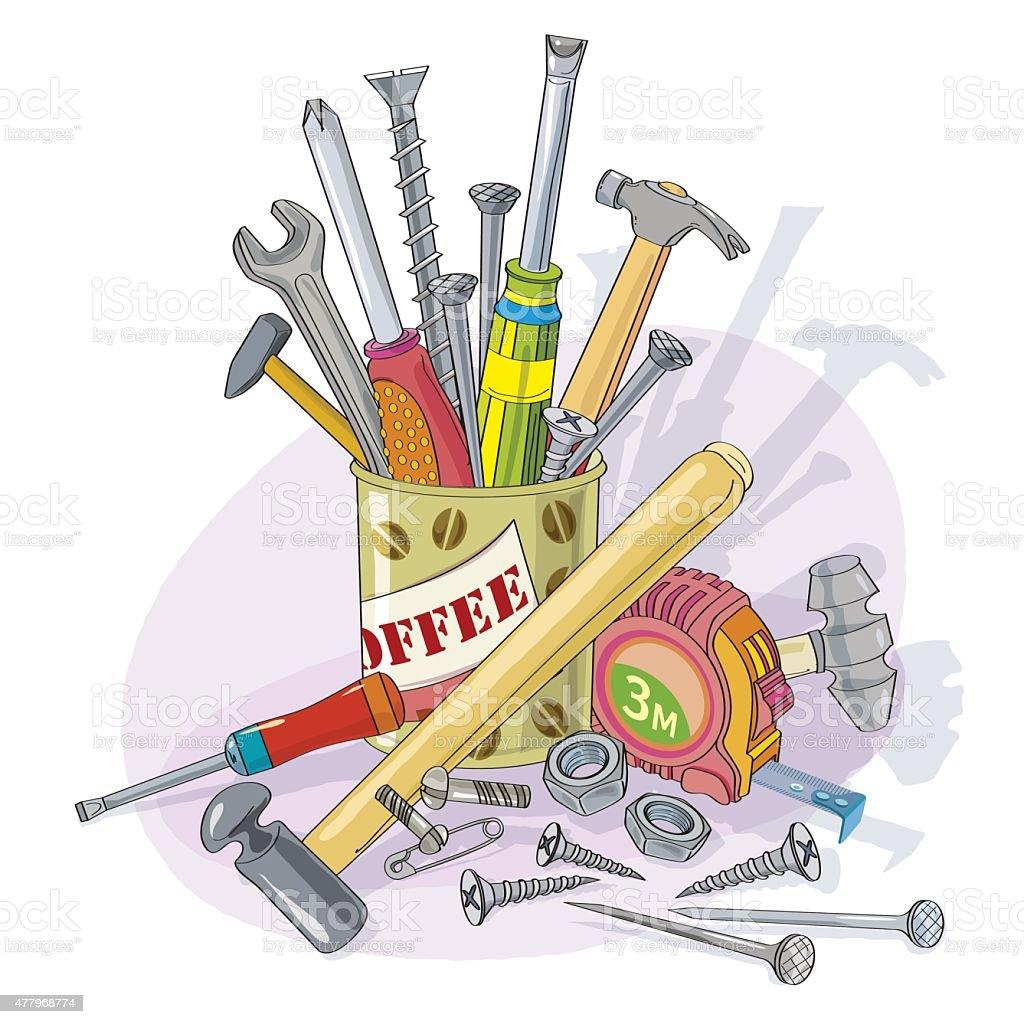 Working manual tool.Tool heap.Illustration vector art illustration