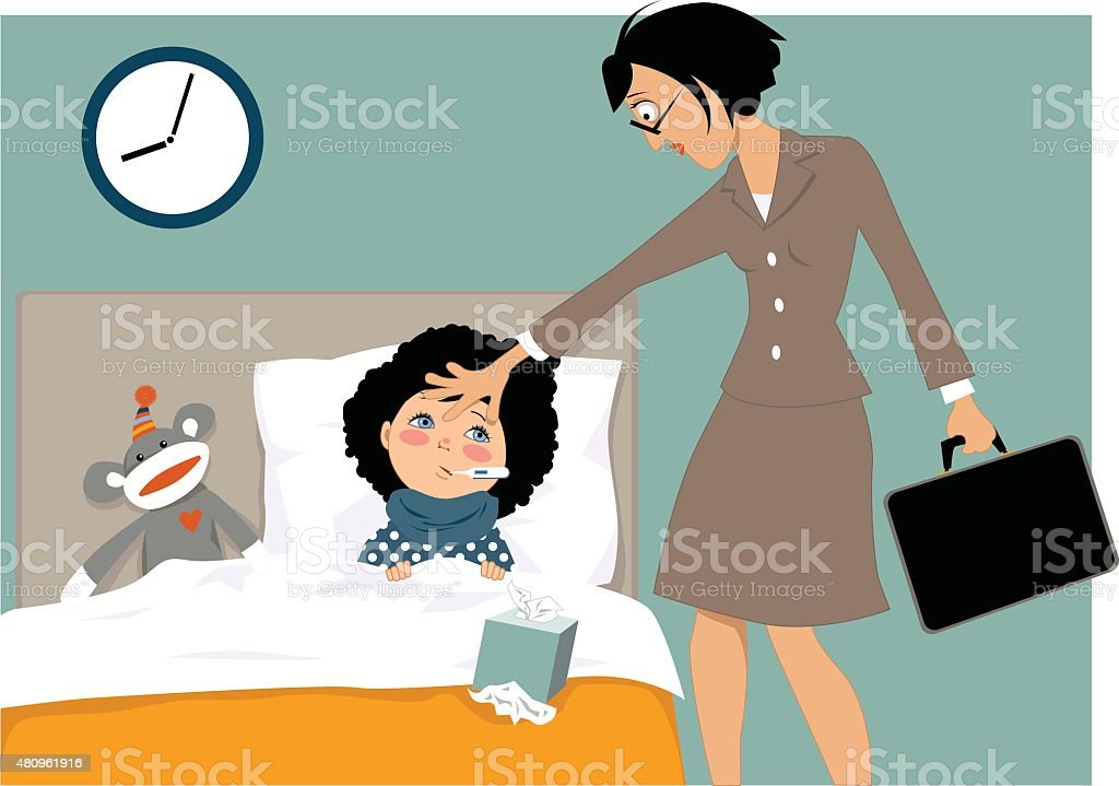 Working mother of a sick child vector art illustration