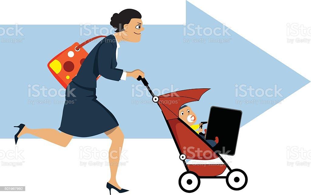 Working mother vector art illustration