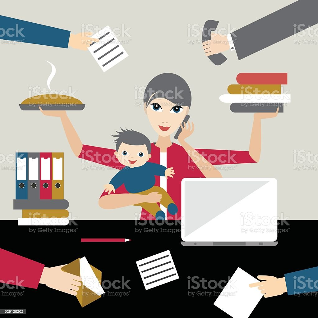 Working mother with child in business offiice. Multitasking person. vector art illustration