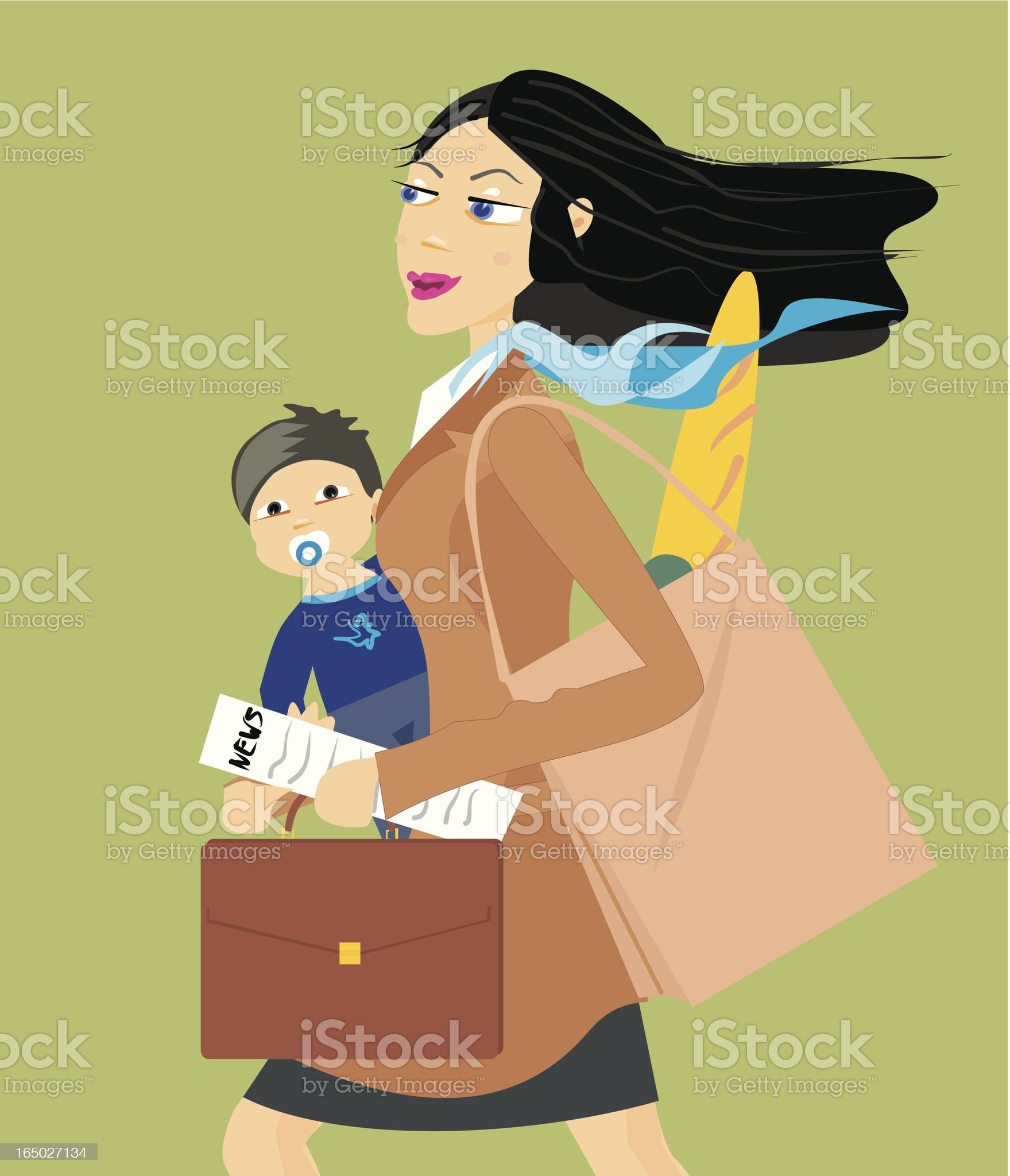 Working mum. royalty-free stock vector art